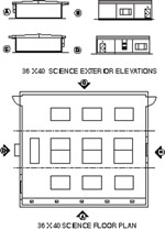 Library / Science Labs / Multimedia Modular Building Floor Plan
